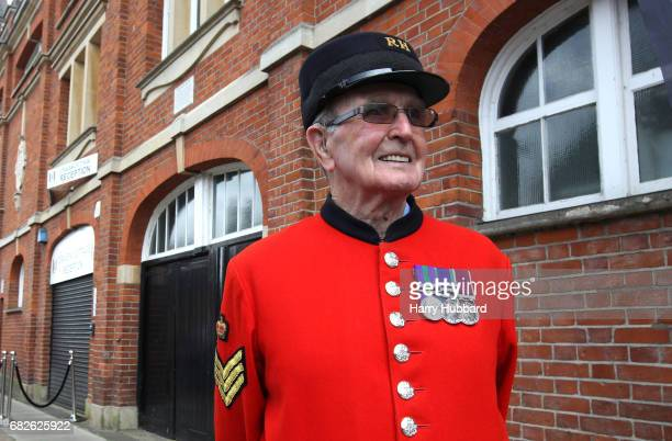 Chelsea Pensioner is seen outside the stadium prior to the Sky Bet Championship Play off semi final 1st leg match between Fulham and Reading at...