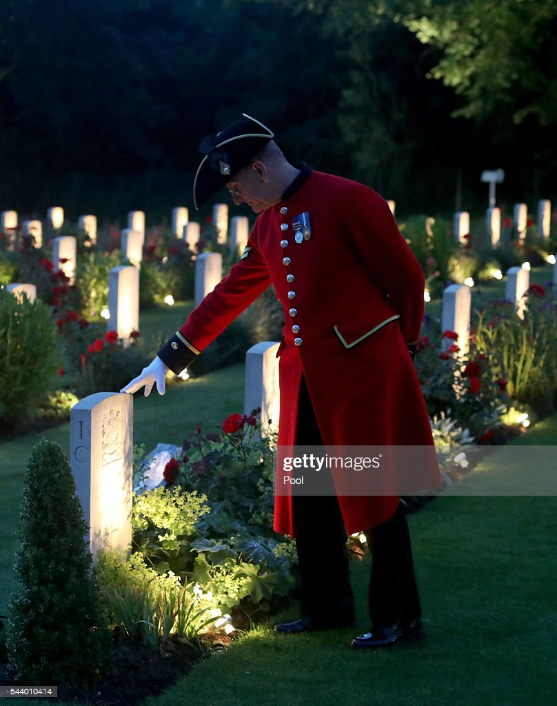 Chelsea Pensioner Paul Whittick looks at war graves during part of a military-led vigil to commemorate the 100th anniversary of the beginning of the Battle of the Somme at the Thiepval memorial to the Missing on June 30, 2016 in Thiepval, France. The event is part of the Commemoration of the Centenary of the Battle of the Somme at the Commonwealth War Graves Commission Thiepval Memorial in Thiepval, France, where 70,000 British and Commonwealth soldiers with no known grave are commemorated.
