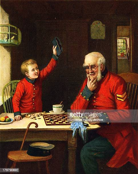 Chelsea pensioner playing draughts with small boy Illustration London 1902