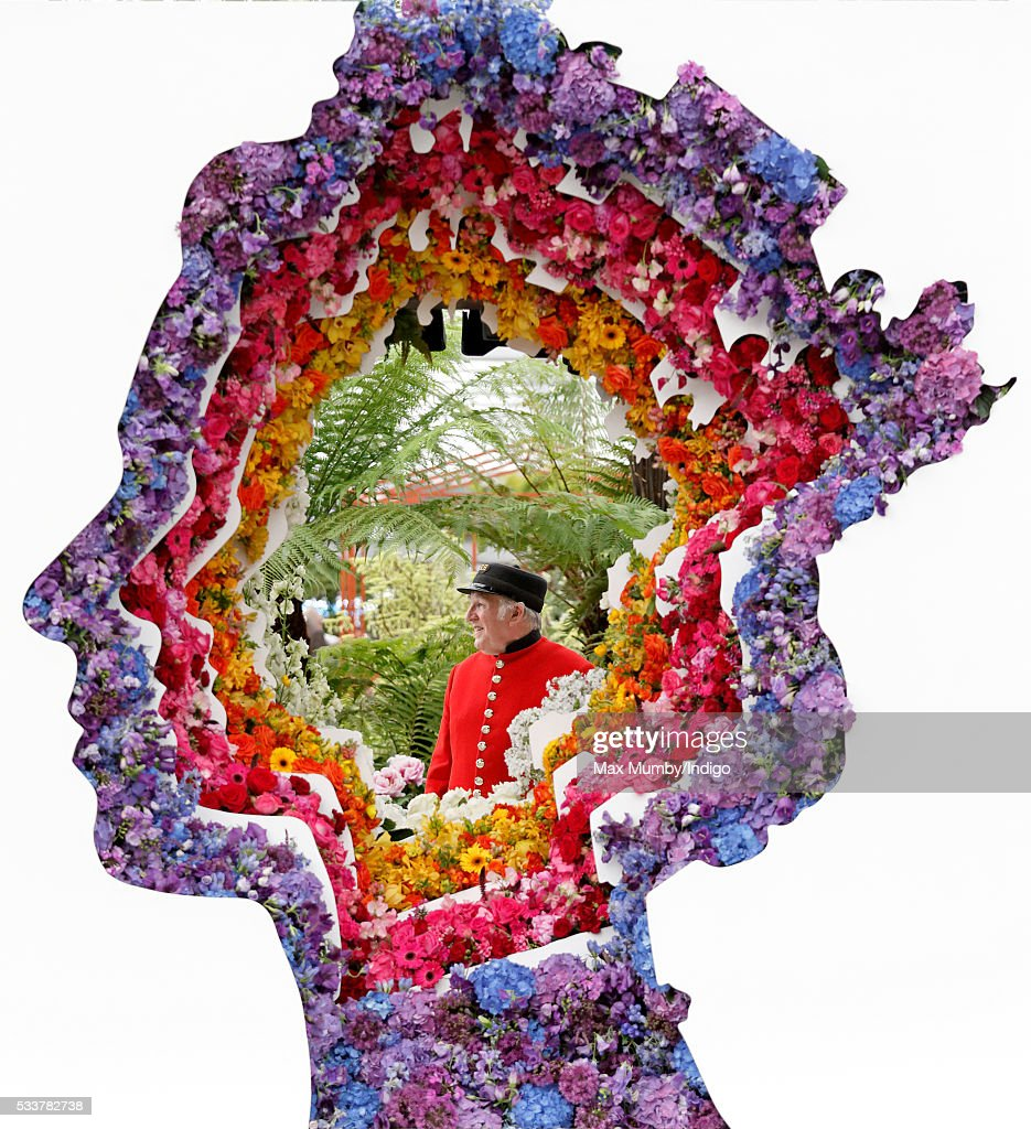 Chelsea Pensioner Ray Pearson views 'Behind Every Great Florist', a floral display in the shape of Queen Elizabeth II's head as he attends the RHS Chelsea Flower Show press day at the Royal Hospital Chelsea on May 23, 2016 in London, England.