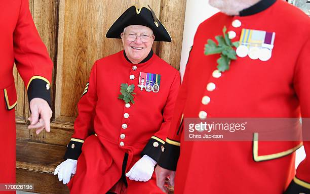 Chelsea Pensioner share a joke as they celebrate Founder's Day on June 6 2013 in London England The Royal Hospital Founder's Day is always held on a...