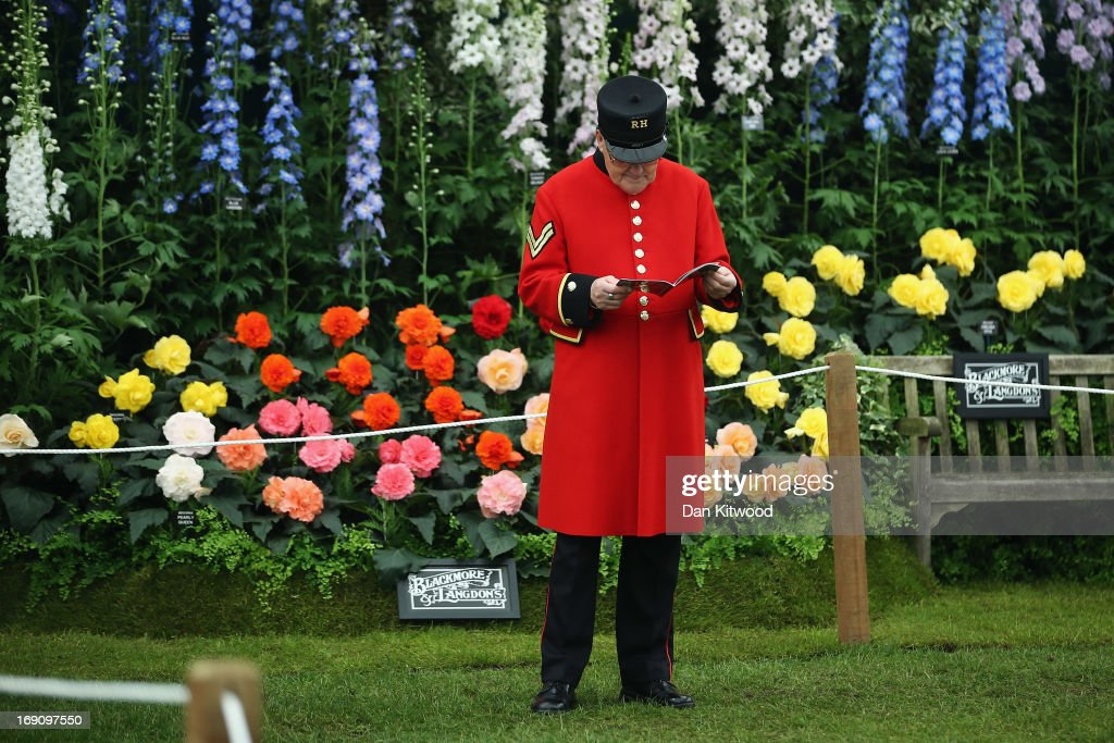 A Chelsea Pensioner walks around the stands at the Chelsea Flower Show on May 20, 2013 in London, England. The Chelsea Flower Show run by the RHS, (Royal Horticultural Society) celebrates its 100th birthday this year.