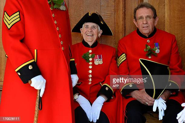 Chelsea Pensioners all British veteren soldiers prepare ahead for an inspection by Camilla Duchess of Cornwall during the annual Founder's Day Parade...