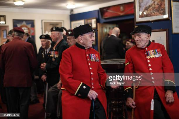 Chelsea pensioners and veterans of World War II Bill Fitzgerald and George Skipper are pictured ahead of a photo call for the launch of the Veterans...