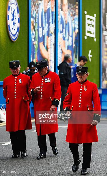 Chelsea Pensioners are seen outside the ground before the Barclays Premier League match between Chelsea and Southampton at Stamford Bridge on October...