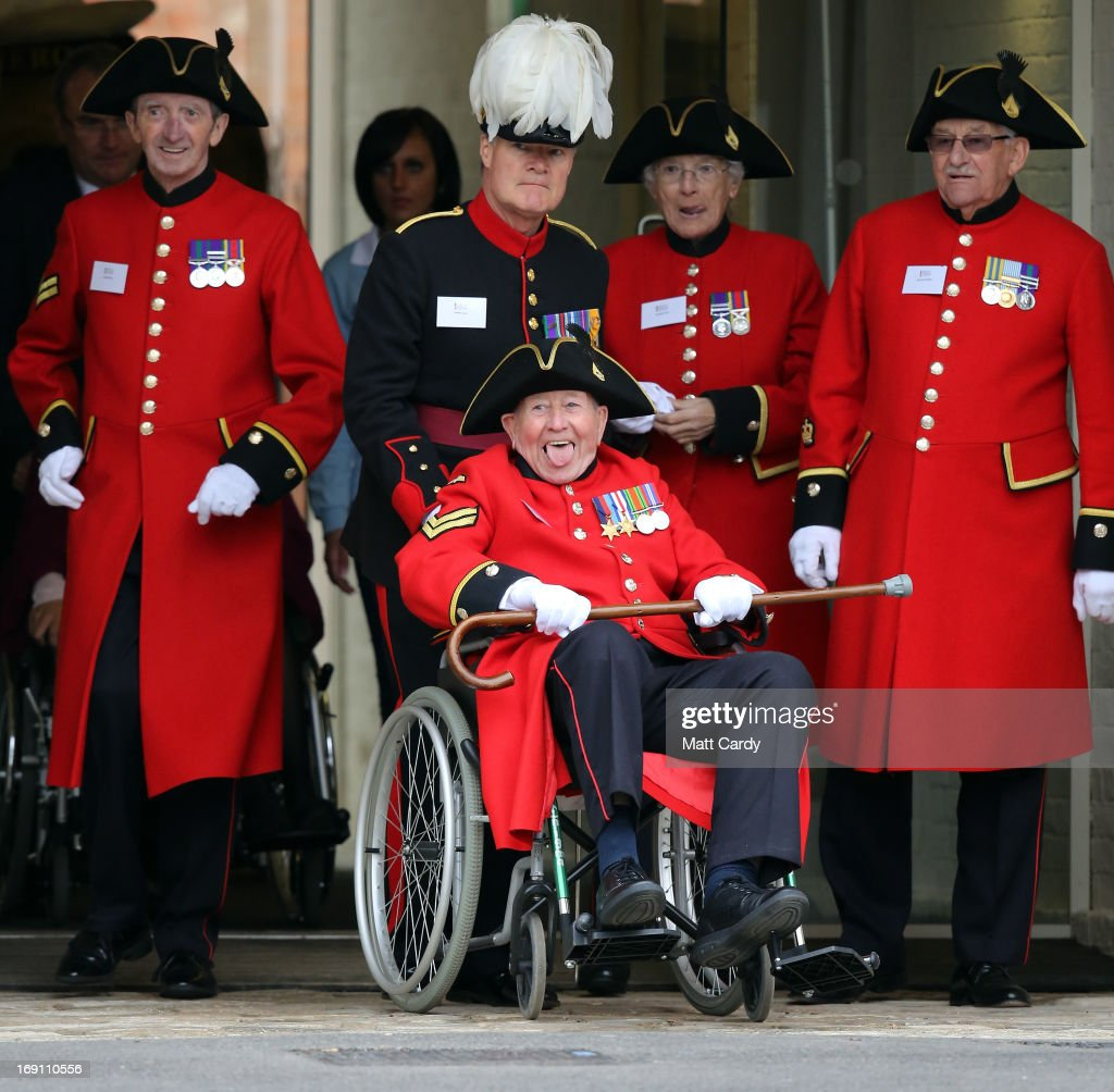 Chelsea Pensioners arrive at the official opening of the Help for Heroes Tedworth House recovery centre on May 20, 2013 in Tidworth, England. During their visit the two Royal Princes met with wounded veterans, serving personnel, and their families. Tedworth House in Wiltshire is one of four new units in England which will offer respite care and rehabilitation to injured and sick service personnel, veterans and their families.