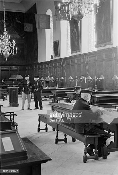 Chelsea Pensioners in the Great Hall of the Royal Hospital Chelsea a soldier's retirement home in London October 1948 Original publication Picture...