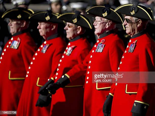 Chelsea Pensioners march past the Cenotaph during Remembrance Sunday service in Whitehall Central London on November 11 2012 Services are held...