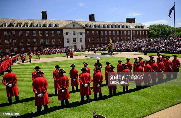 Chelsea Pensioners take part in the annual Founder's Day parade at the Royal Hospital in Chelsea London on June 4 2015 InPensioners at the Royal...