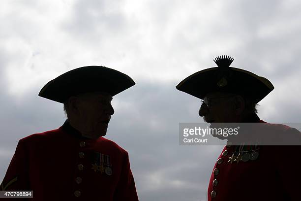 Chelsea Pensioners who served in World War II chat as they wait to take part in a group photograph to commemorate the 70th anniversary year of...