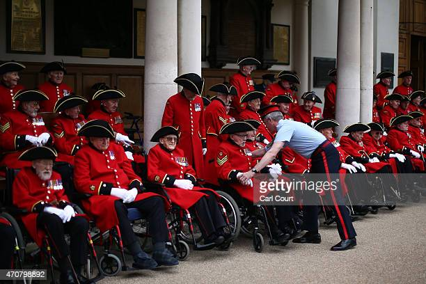 Chelsea Pensioners who served in World War II prepare to take part in a group photograph to commemorate the 70th anniversary year of Victory in...