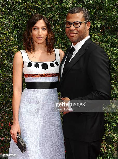 Chelsea Peretti and Jordan Peele attend the 2015 Creative Arts Emmy Awards at Microsoft Theater on September 12 2015 in Los Angeles California