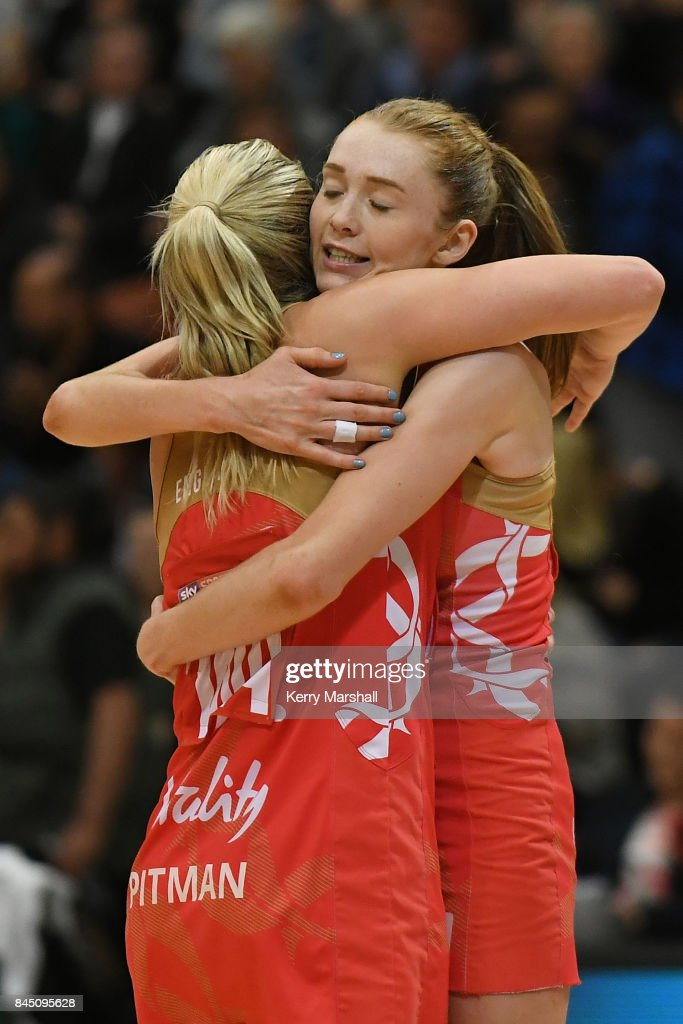 Chelsea Pitman and Helen Housby of England celebrate winning the International Test match between the New Zealand Silver Ferns and the England Roses at Pettigrew Green Arena on September 10, 2017 in Napier, New Zealand.