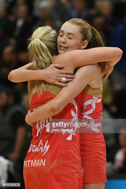 Chelsea Pitman and Helen Housby of England celebrate winning the International Test match between the New Zealand Silver Ferns and the England Roses...