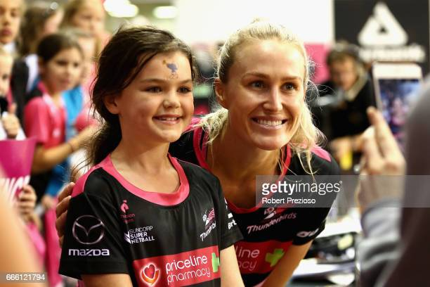 Chelsea Pitman of the Thunderbirds poses for fans during the round eight Super Netball match between the Thunderbirds and the Vixens at Priceline...