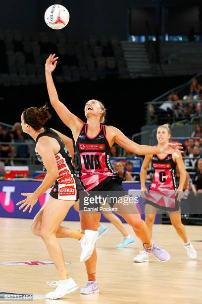 Chelsea Pitman of the Thunderbirds receives a pass during the round four Super Netball match between the Magpies and the Thunderbirds at Hisense...