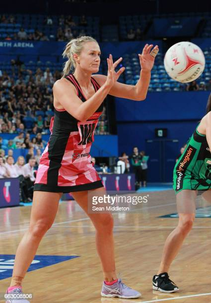 Chelsea Pitman of Thunderbirds competes during the round seven Super Netball match between the Fever and the Thunderbirds at Perth Arena on April 1...
