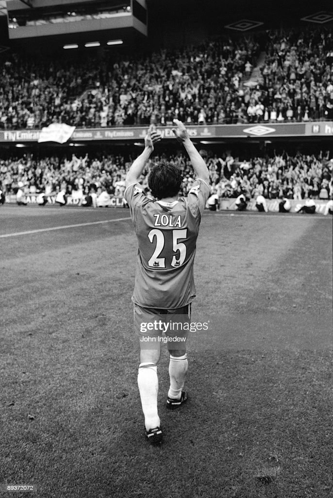 Chelsea player and legend to supporters Gianfranco Zola applauds the fans after his last ever game for the club after the FA Barclaycard Premiership match between Chelsea and Liverpool held on May 11, 2003 at Stamford Bridge, in London. Chelsea won the match 2-1 which secured 4th spot and UEFA Champions League football for the club and paved the way for Roman Abramovich's takeover of the club that summer.