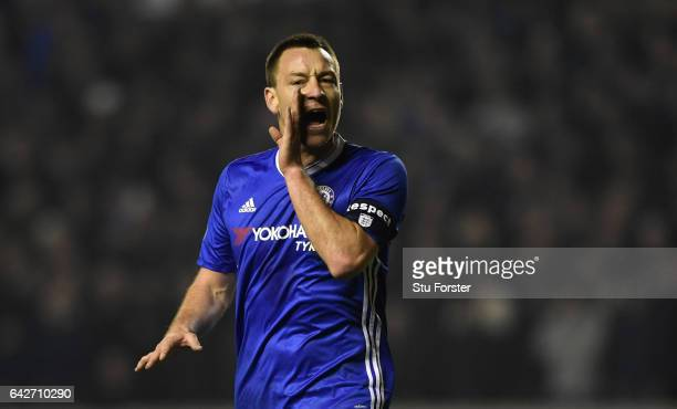 Chelsea player John Terry reacts during The Emirates FA Cup Fifth Round match between Wolverhampton Wanderers and Chelsea at Molineux on February 18...