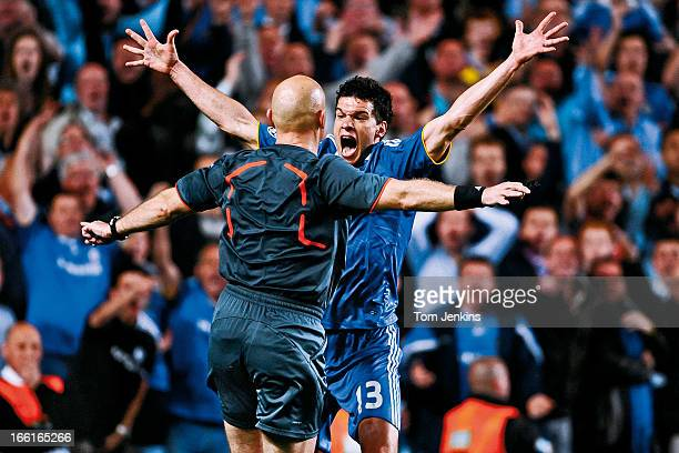 Chelsea player Michael Ballack appeals in vain for a penalty right in the face of referee Tom Henning Ovrebo during the Chelsea versus Barcelona...