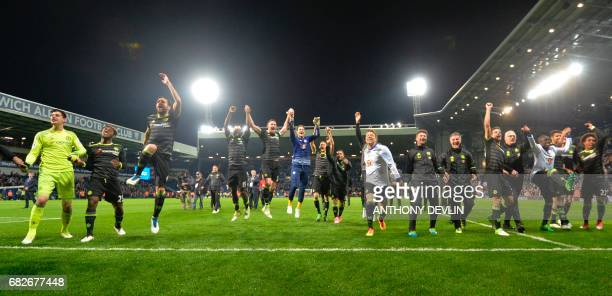 Chelsea players celebrate being confirmed Premier League champions after the English Premier League match between West Bromwich Albion and Chelsea at...