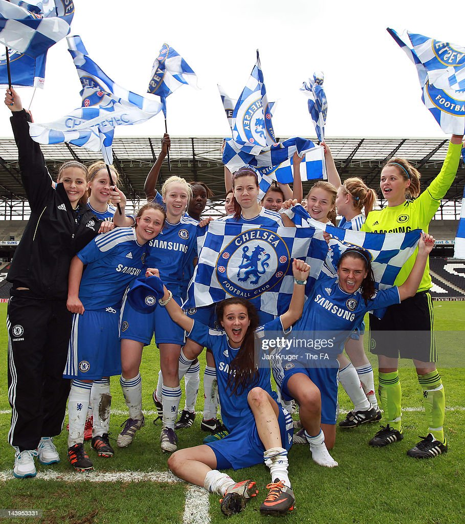 Chelsea players celebrate the win during the FA Girls' Youth Cup U17s Centre of Excellence Final between Arsenal and Chelsea at Stadium MK on May 6, 2012 in Milton Keynes, England.