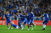 Chelsea players celebrate the winning penalty during UEFA Champions League Final between FC Bayern Muenchen and Chelsea at the Fussball Arena München...