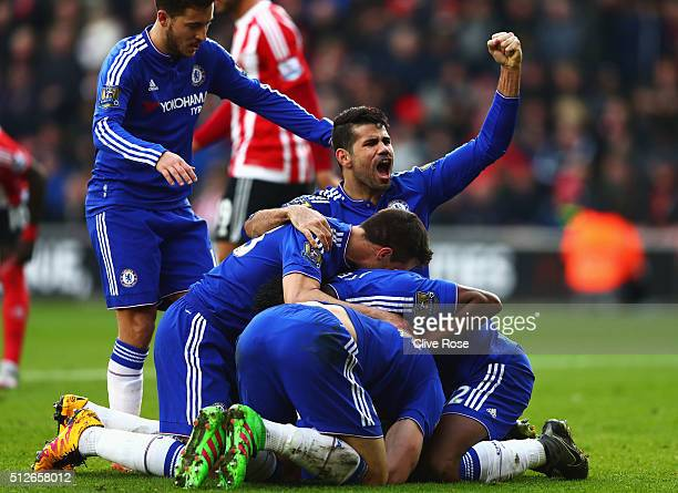 Chelsea players celebrate their second goal by Branislav Ivanovic during the Barclays Premier League match between Southampton and Chelsea at St...