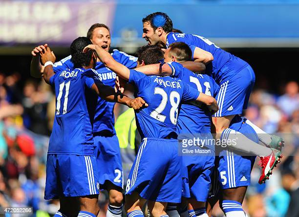 Chelsea players celebrate winning the Premier League title after the Barclays Premier League match between Chelsea and Crystal Palace at Stamford...