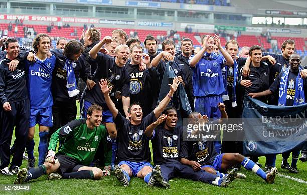 Chelsea players celebrate winning the Premiership after victory over Bolton Wanderers in the Barclays Premiership match between Bolton Wanderers and...