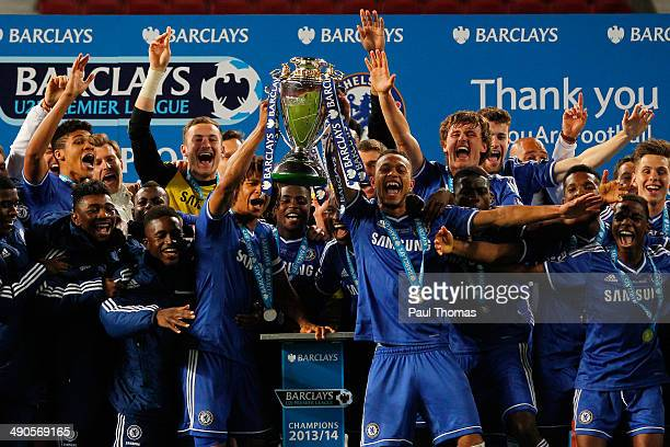 Chelsea players celebrate with the trophy after the Barclays Under21 Premier League Final match between Manchester United and Chelsea at Old Trafford...
