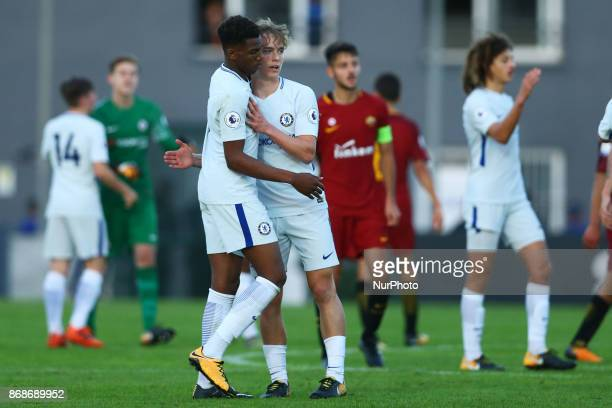 Chelsea players celebrating the victory 21 after the UEFA Youth League match between AS Roma and Chelsea FC at Stadio Tre Fontane on October 31 2017...