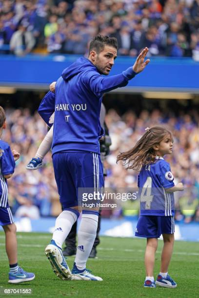 Chelsea players Cesc Fabregas shows his appreciation for John Terry before the Premier League match between Chelsea and Sunderland at Stamford Bridge...
