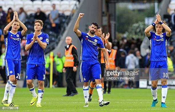 Chelsea players Chelsea's Serbian midfielder Nemanja Matic Chelsea's Spanish defender Marcos Alonso Chelsea's Brazilianborn Spanish striker Diego...