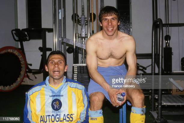 Chelsea players Gus Poyet and Gianfranco Zola celebrate victory after the UEFA European Cup Winners Cup Semifinal 2nd Leg match between Chelsea and...