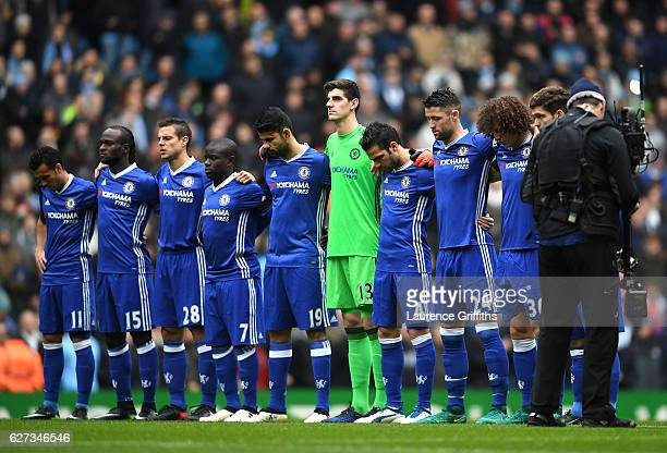 Chelsea players observe a minutes silence for the victims of the plane crash involving the Brazilian club Chapecoense prior to the Premier League...