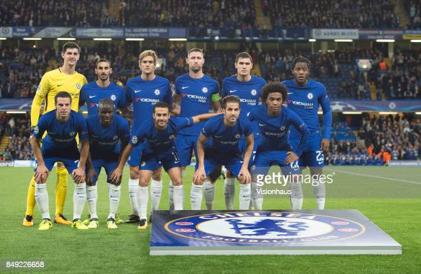Chelsea players pose for a team photograph before the UEFA Champions League Group C match between Chelsea FC and Qarabag FK at Stamford Bridge on...