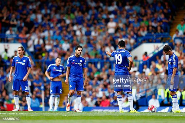 Chelsea players react after conceding the first goal to Swansea during the Barclays Premier League match between Chelsea and Swansea City at Stamford...