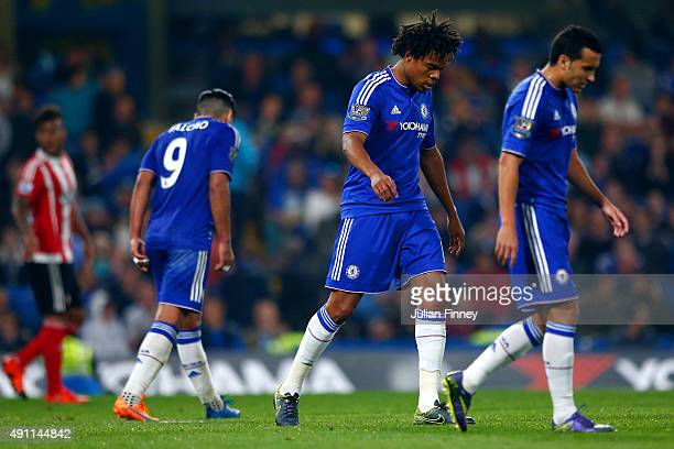 Chelsea playes show their dejection after conceding the third goal to Southampton during the Barclays Premier League match between Chelsea and...