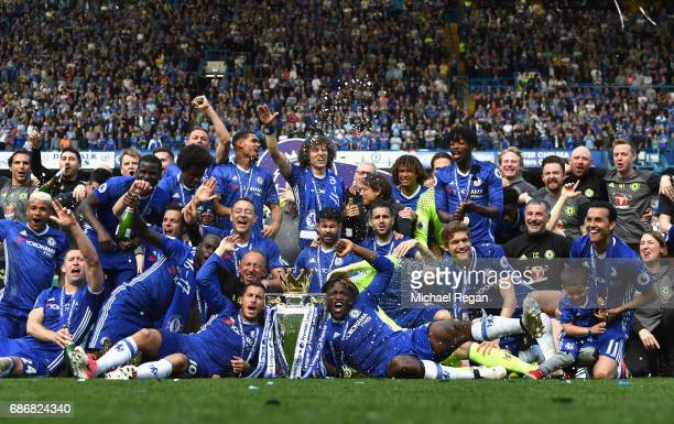 Chelsea poses with the Premier League Trophy after the Premier League match between Chelsea and Sunderland at Stamford Bridge on May 21 2017 in...