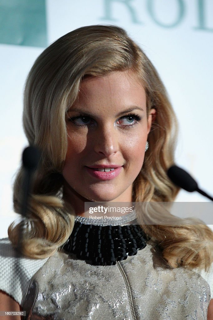Chelsea Scanlan Ambassador of the Formula 1 speaks to the media during the 2013 Formula One Australian Grand Prix Launch on February 5, 2013 in Melbourne, Australia.