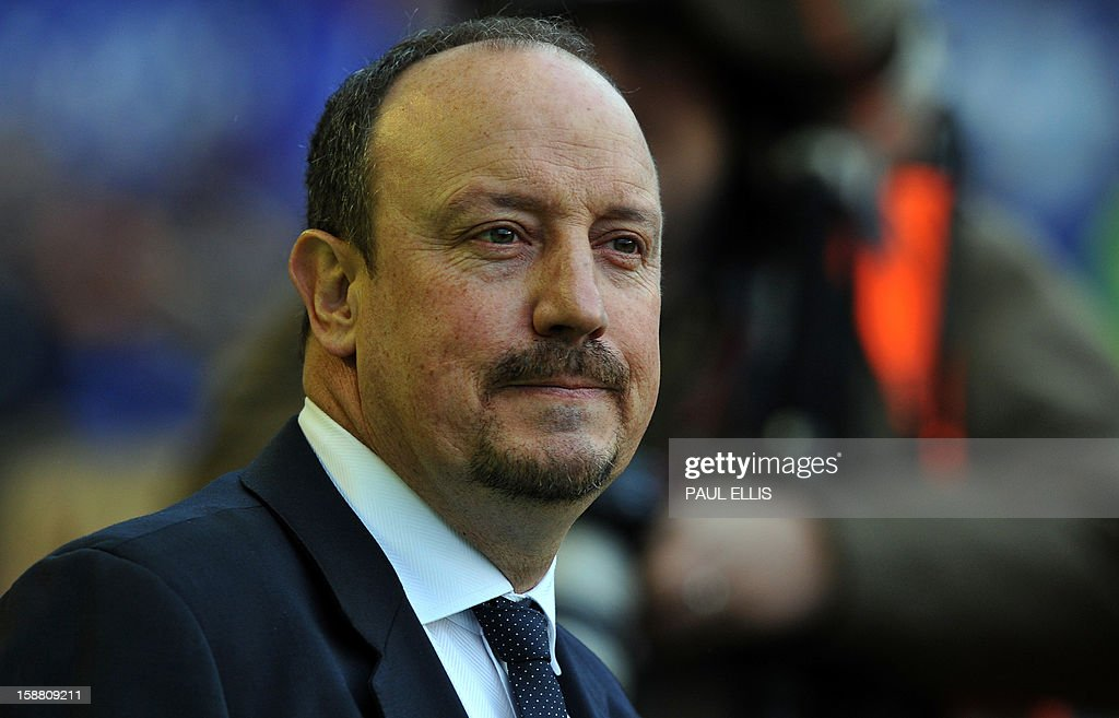 Chelsea Spanish interim manager Rafael Benitez waits for kick-off before the start of the English Premier League football match between Everton and Chelsea at Goodison Park in Liverpool, England, on December 30, 2012.