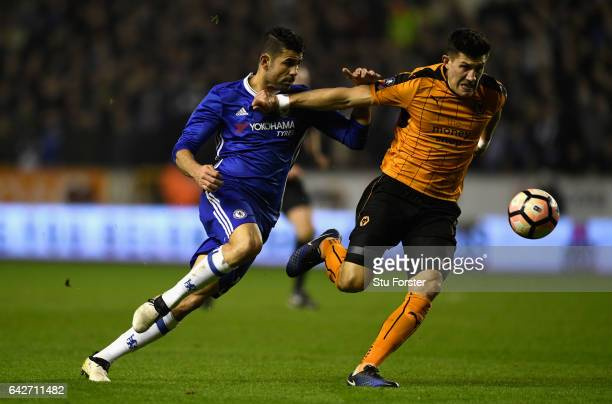 Chelsea striker Diego Costa and Wolves player Danny Batth in action during The Emirates FA Cup Fifth Round match between Wolverhampton Wanderers and...