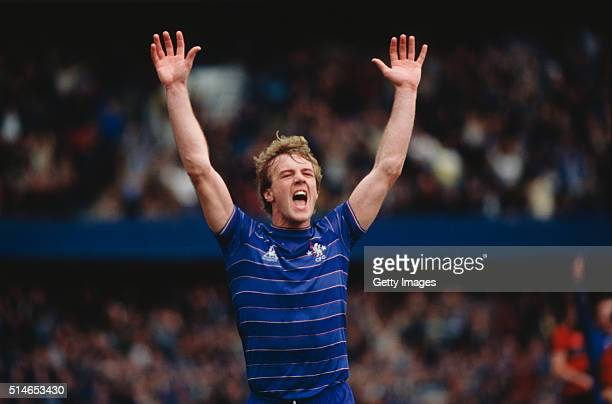 Chelsea striker Kerry Dixon celebrates after scoring the winning goal in a 10 win over QPR at Stamford Bridge in a League Division One match on April...