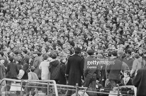 Chelsea supporters at Stamford Bridge during a League Division One match between Chelsea and Manchester United London 12th March 1966