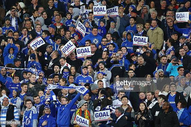 Chelsea supporters cheer a goal during the international friendly match between Sydney FC and Chelsea FC at ANZ Stadium on June 2 2015 in Sydney...