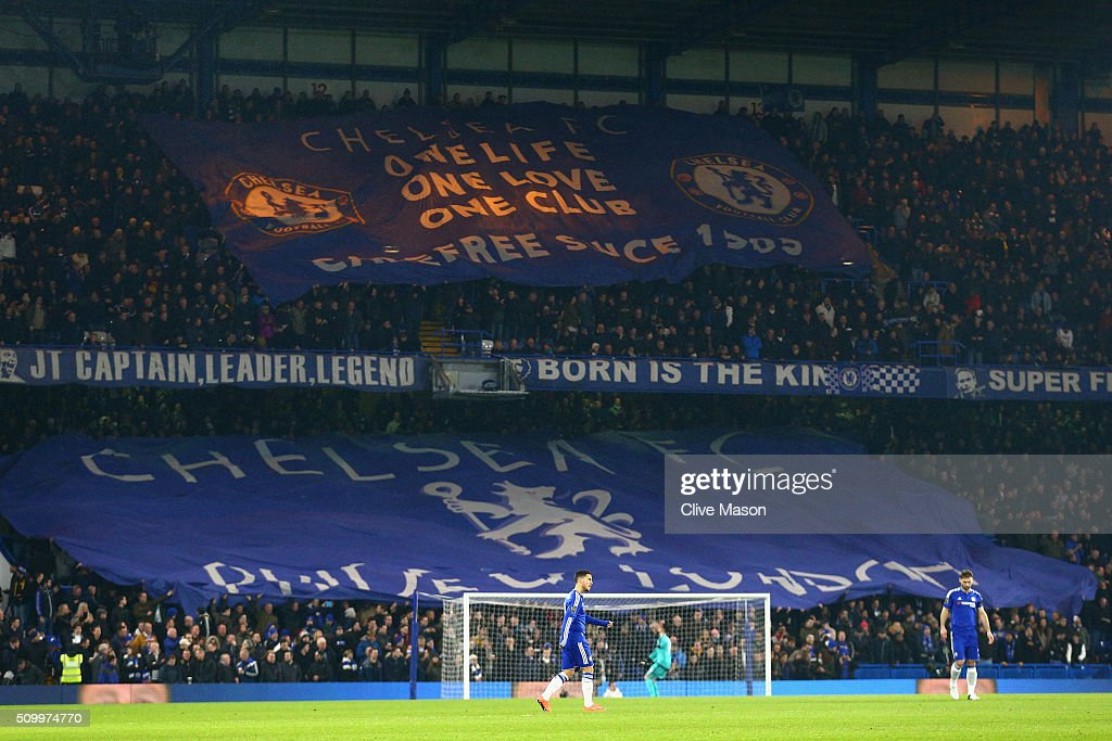 Chelsea supporters cheer prior to the Barclays Premier League match between Chelsea and Newcastle United at Stamford Bridge on February 13, 2016 in London, England.