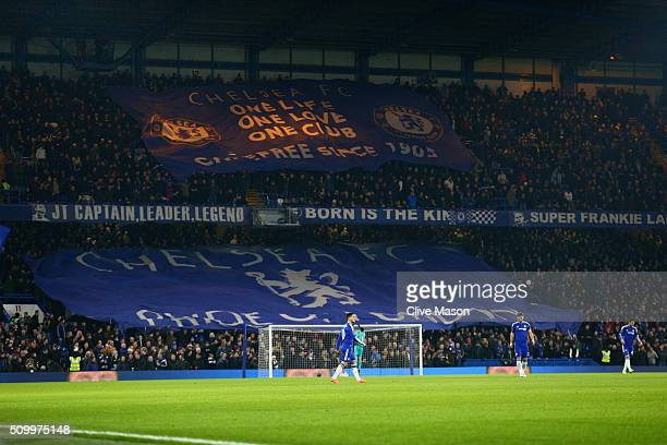Chelsea supporters cheer prior to the Barclays Premier League match between Chelsea and Newcastle United at Stamford Bridge on February 13 2016 in...