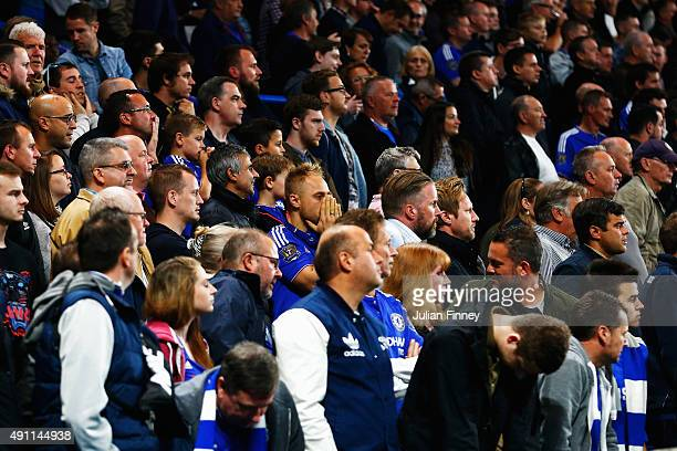 Chelsea supporters react after conceding the third goal to Southampton during the Barclays Premier League match between Chelsea and Southampton at...