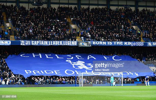 Chelsea supporters roll out the flag prior to the Barclays Premier League match between Chelsea and Stoke City at Stamford Bridge on March 5 2016 in...